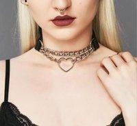 женщин HipHop мило косплей горничной Воротник Punk Gothic кожа Choker Металлические цепи Harajuku Регулируемое ювелирные изделия Сердце ожерелье Мода