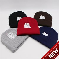 고양이 수직 가운데 손가락 새로운 가을 거리 남자 뜨개질 콜드 모자 겨울 여성의 양모 88v2