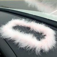 Cute rosa carro rosa decoração antiderrapante tapete com gadget de painel de carro branco rosa para decal1