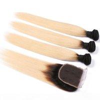 1b 613 Honey Bionda Brasiliana Remy Remy Remy Human Hair 3 Bundles with Lace Chiusura, Black and Blonde Bundles Ombre con chiusura