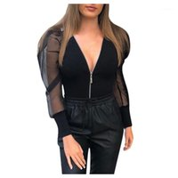 여성용 Jumpsuits Rompers 패션 패치 워크 블랙 메쉬 V 목 지퍼 퍼프 슬리브 Bodysuit 여성 파티 나이트 클럽웨어 2021 긴 Sleeve1