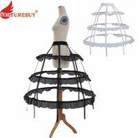 CostumeBuy Donne Cosplay Lolita Prom Dress Dress Petticoat 3 Hoop Crinoline Cage Buste Victorian Rococò Pannier Accessori 2 Colori1