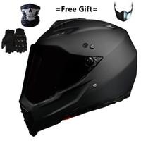 Mate Siyah Çift Spor Off Road Motosiklet Kask Kir Bike ATV D.O.T Sertifikalı (M, Mavi) Moto Sport1 için Tam Yüz Casco