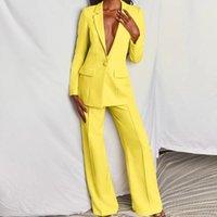 2020 أزياء المرأة pantsuit الوردي الأعمال الكلاسيكية واحد الصدر أزرار تسعة السراويل السراويل مجموعة اثنين من قطعة الدعاوى الرسمية الأصفر
