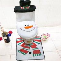 Tapis de bain Noël Closeestool Couverture Mat Santa Claus Toilette Siège de couvercle Tissue de tissu pour accessoires de salle de bain domestique