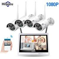 Sistemas HISEEU 4CH 1080P Wireless NVR Kits 12 'LCD Display HD Segurança ao ar livre 2MP IP Camera Video Vigilância WiFi CCTV System1
