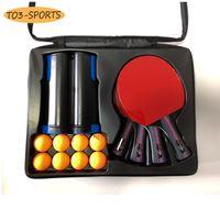 المهنية مضرب تنس الطاولة المطاط على الوجهين مجموعة مع 4 بينغ بونغ المجاذيف + 1 صافي + 8 كرات pingpong bat q1202