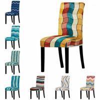 Stripe Spandex Chair Covers Gedruckt Elastische Sitzbezug Slipcovers für Esszimmer Hochzeit Bankett Hotel Küchenbüro1