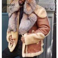 WEPBEL Men PU Leather Coat Lamb Plus Size Fashion Street Style Coat Big Fur Collar Men's Motorcycle Faux Leather Jacket