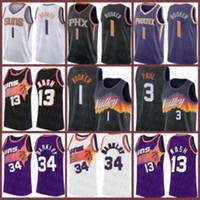 Devin 1 Booker Chris Steve 13 Nash 3 Paul Charles 34 Barkley PhoenixSonnen?Neue 2020 2021 Basketball Jersey schwarz