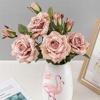 Vintage belle fleurs artificielles pour la décoration de la soie rose grosse fausse branche branche mariage maison décor salon