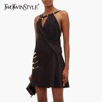 Twotwinstyle Assimétrico Patchwork Pin vestido para mulheres espaguete alça fora do ombro cintura alta vestidos feminino outono novo y200120
