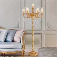 유럽 스타일의 크리스탈 플로어 램프 럭셔리 분위기 빌라 홀 바닥 조명 호텔 통로 침실 장식 바닥 조명