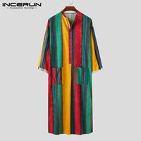 INCERUN Men Muslim Jubba Thobe Striped Long Sleeve Button Cotton Robe Pockets Middle East Islamic Arabic Kaftan Men Clothes 2020