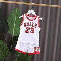 Terno esportivo de basquete infantil de verão, jersey de bebê moda, shorts de meninos, colete, dois pedaços