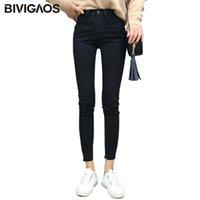 Bivigaos Yeni Yüksek Elastik Kırpılmış Kot Pençe Marks Denim Kalem Pantolon Ince Skinny Jeans Tayt Kadın Jeggings Siyah Mavi A1112