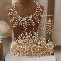 Çarpıcı Arapça Gelin Taç Saç Takı Rhinestone Headpieces Saç Bandı Düğün Saç Aksesuarları Takı Kadın Taç Kraliçe Tiara AL7805
