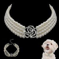 Элегантный хрустальный ошейник для собак ожерелье Choker стиль горный хрусталь жемчуг роскошные домашние собаки аксессуары ожерелья для собак чихуахуа