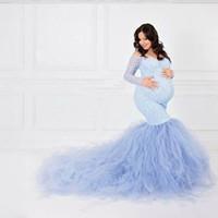 Сексуальное кружево без бессмысленного беременности платья фотографии с длинным рукавом сетки материнства Maxi платья для фотосъемки беременных женщин платье Y200805