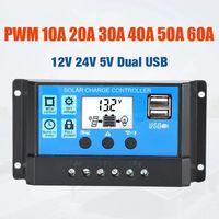 60A / 50A / 40A / 30A / 20A / 20A / 10A 12 فولت 24 فولت السيارات الشمسية تهمة تحكم PWM تحكم LCD المزدوج USB 5V الإخراج الشمسية لوحة منظم