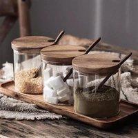 زجاجات التخزين الجرار 3 قطعة / المجموعة الزجاج مختومة وعاء التوابل أغطية خشبية بهار مع ملعقة المطبخ الملح السكر التوابل المنظم الحاويات