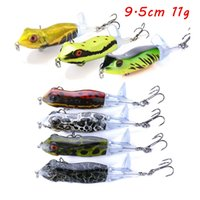 5pcs lot 7 Color Mixed 9.5cm 11g 3D Eyes Frog Hard Baits & Lures Fishing Hooks 6# Hook Pesca Fishing Tackle BL_274