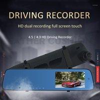 Coche DVR DVRS Cámara Grabadora de tráfico 4.5 pulgadas IPS HD Visión nocturna 1080P Lente doble de lentes inversa Dash Cam Front Back Records1