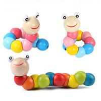 17cm Diverses formes torsions de chenilles en bois jouets colorés Wriggle Tarkenterworm poupée pour enfants bébé drôle intelligence de Noël jouets cadeaux