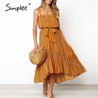 Simplee Boho Senza maniche Summer Dress Casual Ruffled Stampa Stampa Sash Maxi Dress Ladies Holiday Beach Indossare cinturino Sexy1