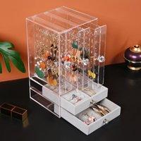 Schmuckbeutel, Taschen High-End-Ohrringe Kunststoff Aufbewahrungsbox Tragbare Schublade Transparent staubfestes Display Make-up Rack Organizer