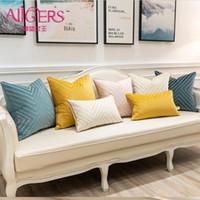 Подушка / декоративная подушка авигры роскошные бархатные вышивальные подушки крышки современные многоцветные геометрические полосатые лоскутные чехлы