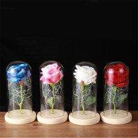 Eterno rosa flor vidrio cúpula led cumpleaños cumpleaños día de la madre día de San Valentín regalo de aniversario Decoración del hogar JK2101XB