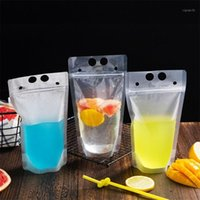 Upspirit 10PCS البلاستيك 500 ملليلتر شرب واضح الحقائب المتاح شفافة حقيبة مختومة لعصير القهوة حليب المياه الحليب تخزين 1