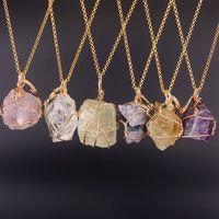 collar de piedra natural de manera cristalino alambre irregular cuarzo ágata de la piedra preciosa de la joyería de las mujeres collares pendientes voluntad y el regalo de arena