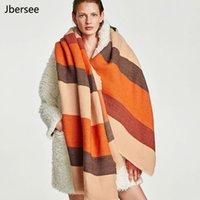 Pashmina Jbersee Fashion Cape Women Cashmere Caper Bearbized 200 см * 80см Утолщение полосатый теплый зимний шарф