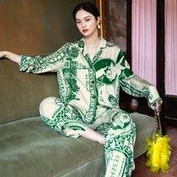 2020 Desiner Оригинальные долларовые пижамы женщины, весенние с длинным рукавом тонкие два-х частей домашней одежды досуга вершины могут быть носить снаружи