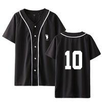 Anime Haikyuu Baseball Maglietta da baseball Uomini / Donne Karasuno School School Sportswear Sportswear Manica corta T Shirt Oversize T-shirt Hip Hop Stampa