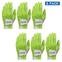 6 stücke Efunist Golf Handschuh Männer Links Hand Atmungsaktiv grün 3D Leistung Mesh Rutschfeste Micro Faser Golf Handschuhe 201029