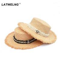 Sombreros de ala ancho Diseño original Tweed Pearl Raffia Beach para las mujeres moda SOFT SOFT SUN HAT SEÑORAS VISURA DE VELAÑOS Venta al por mayor 1