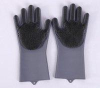طبق غسل قفازات سيليكون قفازات فرشاة الصاخبة الغسيل reusable السلامة مقاومة للحرارة تنظيف المطبخ أداة 6 ألوان YYS4240