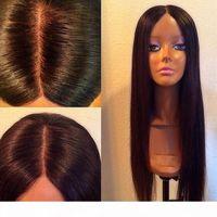 Soie sans gluge Top pleine dentelle de lacet de lacet de soie droite Brésilienne cheveux vierges pleine dentelle frontale frontale cheveux perruques de cheveux Human 4.5 * 5 Perruques en dentelle de la soie