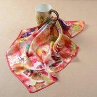 Шарфы на 100% реальная шелковая площадь для женщин бабочка печатает масляную картину маслом креп сатин простые шарф носовой платкерский проход бандана 52 * 52 см