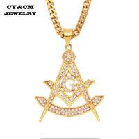 Cycm Hip Hop Iced Out FreeMason Masonic Strass Pendente Mens Acciaio Inox Gioielli in acciaio inox Golden Punk Rock Pendant Collana di fascino