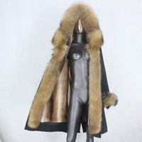BluenessFair 2020 Jaqueta de Inverno Mulheres X-Long Waterproof Parka Real Raccoon Natural Collar Capuz Casaco Outerwear Streetwear New1