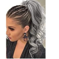 Graue wellenförmige Wickel um den Clip in Kordelzug Pferdeschwanzverlängerungen Salz und Pfeffer echte Haarkörperwelle Pferdeschwänze Haarteile für Frauen