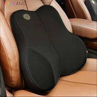 Almofada de cadeira de travesseiro de viagem Almofada Back Pillow Lombar Suporte para cadeira de escritório Coxim de assento de carro Espuma de memória com alças ajustáveis 201009
