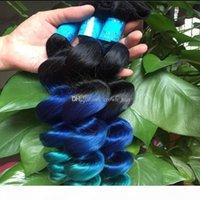 Sınıf 8A Ombre Saç Uzatma 1B Mavi Yeşil 3 Ton Saç Atkı Yeni Moda Ombre Renk Gevşek Dalga İnsan Saç Demetleri 3 adet