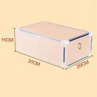플라스틱 투명 신발 상자 두꺼운 스토리지 신발 상자 접이식 스택 가능한 방진 서랍 정렬 out 신발 캐비닛 ppd3405