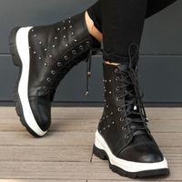 부츠 Mio Gusto 브랜드 라이언 흑백 색상 고품질 5cm 평면 겨울 스포츠 여성의 발목 부츠, 플랫폼, 고트