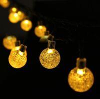 30 LED secuencia solar al aire libre luces 30LEDS 6.5M Crystal globo de la bola de energía solar de los Globos de Luz de Navidad Decoración de iluminación al aire libre